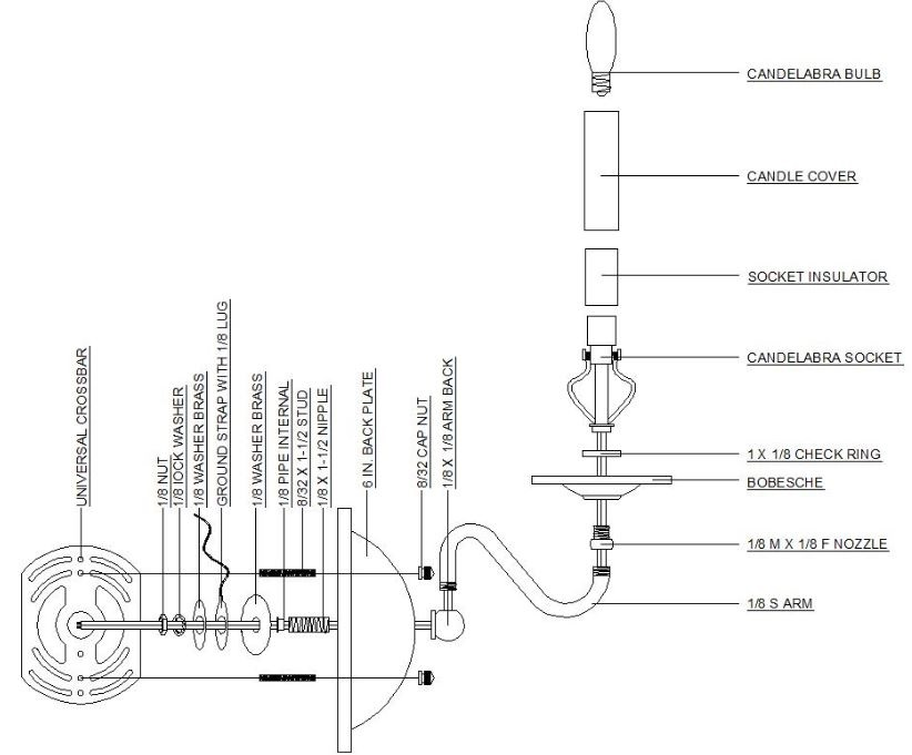 Wall       Sconce       Diagram        Grand Brass    Lamp    Parts  LLC